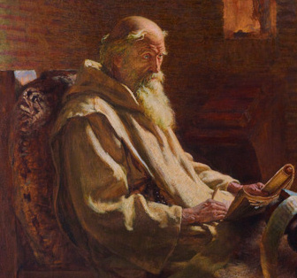 Oil painting of Bede as an old man.  He is seated, wearing light brown monk's robes, and holding an open book on his lap.