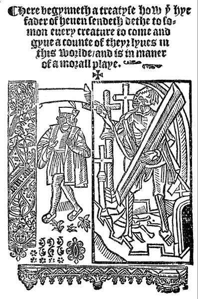 Photograph of a book page, showing the first lines of the play in Middle English calligraphy script, with a decorative wood block carving of the Everyman and Death figures beneath it