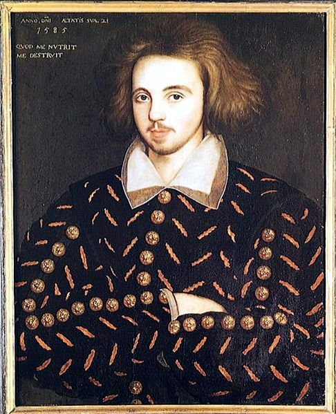 Oil painting of Christopher Marlowe, shown as a young man with chin-length brown hair, light facial hair, and arms crossed over his chest.