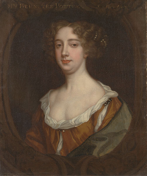 Oil painting of Behn.  She has red-brown hair parted in the middle and styled over her ears, and wears a low-cut orange dress and is wrapped in a shawl.