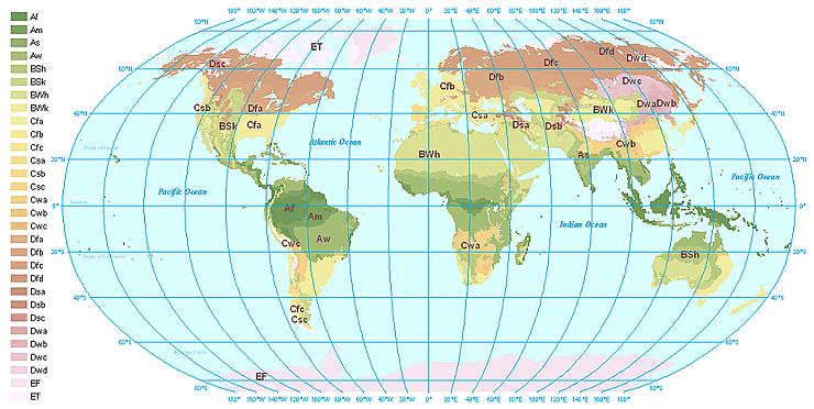 World climates earth science this world map of the kppen classification system indicates where the climate zones and major biomes are located gumiabroncs Choice Image