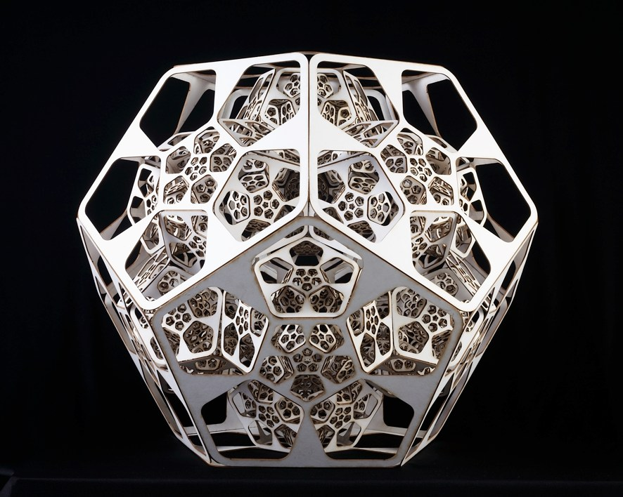 The piece is based on a recursion of pentagon shape forming after folding a Pentagonal dodecahedron