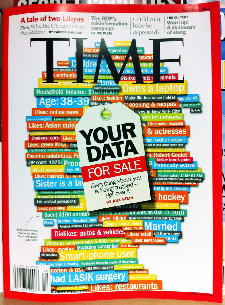 """Cover of Time magazine entitled """"Your Data: For Sale."""""""