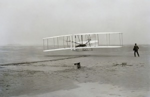 the historic first flight of an airplane