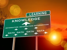 Sign showing that data becomes information, which leads to knowledge, which leads to learning