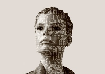 Black-and-white photo of a woman with computer circuit board superimposed over her face.