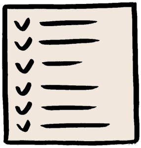 Clip art of a checklist. No writing is visible, just lines where item text would appear.