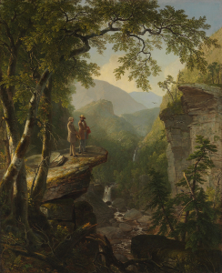 Oil painting of two men standing on a cliff, surrounded by lush forest