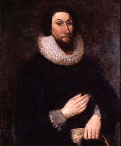 Oil painting of John Winthrop.  Colors are dark and muted, though he wears a white ruffled collar and sleeves