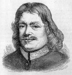 Lithograph of John Bunyan, a man with long hair and a moustache