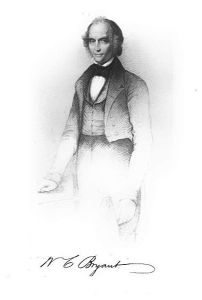 Black and white engraving of Bryant, standing and wearing a suit