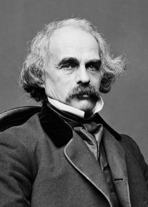 Black and white photograph of Nathaniel Hawthorne. He is seated in a high-collared suit, with light hair and a darker moustache