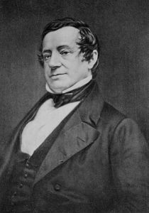 Daguerrotype of Washington Irving from the chest up.  He is wearing a suit and collar