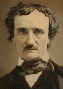 Daguerreotype of Edgar Allen Poe's bust.  Sepia in tone, his left shoulder slopes down and he stares straight into the camera