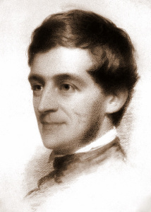 Charcoal drawing of Emerson's head. He is a young man, smiling off to the left of the page, wearing a high collar and no facial hair