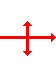 horizontal arrow pointing to the right with a vertical line crossing it. There are arrows on both ends of the vertical line pointing away from the horizontal line.