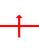 Horizontal line with a vertical line crossing it. There is an arrow on the top end of the vertical line.