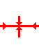 Horizontal line with a vertical line crossing it. There are arrows on the internal ends of the vertical line pointing at the horizontal line. There are also arrows on the horizontal line pointing inward at the vertical line.