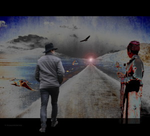 Photo of a man walking away from the camera along a road leading to the horizon.  On his right is a figure in a kimono; on his left is what appears to be a pterodactyl.  An eagle soars above, and a city can be seen in the distance.
