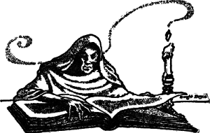 Illustration of a death figure wearing a robe, seated reading a giant book. A candle burns on the table beside the book, with a smoke plume curling behind Death's head