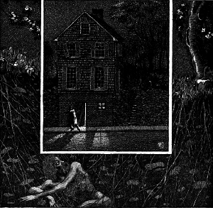 Illustration of a house set deep in an overgrown setting.  There is a figure in a trench coat leaving the bottom door of the house.  In the undergrowth in the foreground, a naked long-haired man looks on the house.