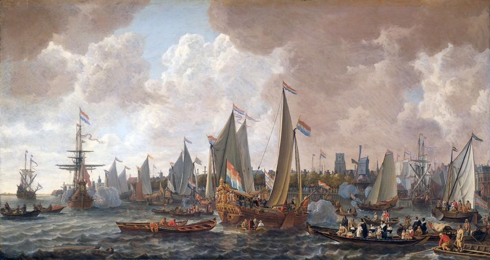 A fleet of ships arriving in Rotterdam
