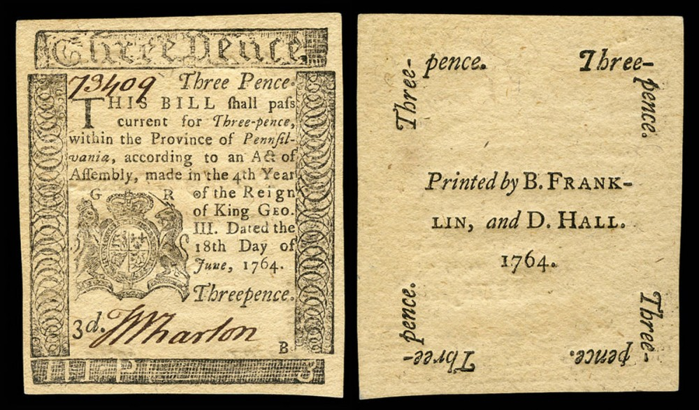 A bill printed by Benjamin Franklin and David Hall.