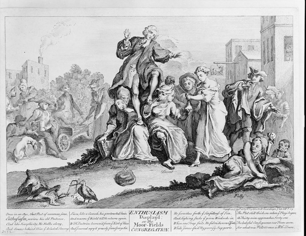 "Whitefield is shown supported by two women, ""Hypocrisy"" and ""Defeat"". The image also includes other visual indications of the engraver's disapproval of Whitefield, including a monkey and jester's staff in the right-hand corner."