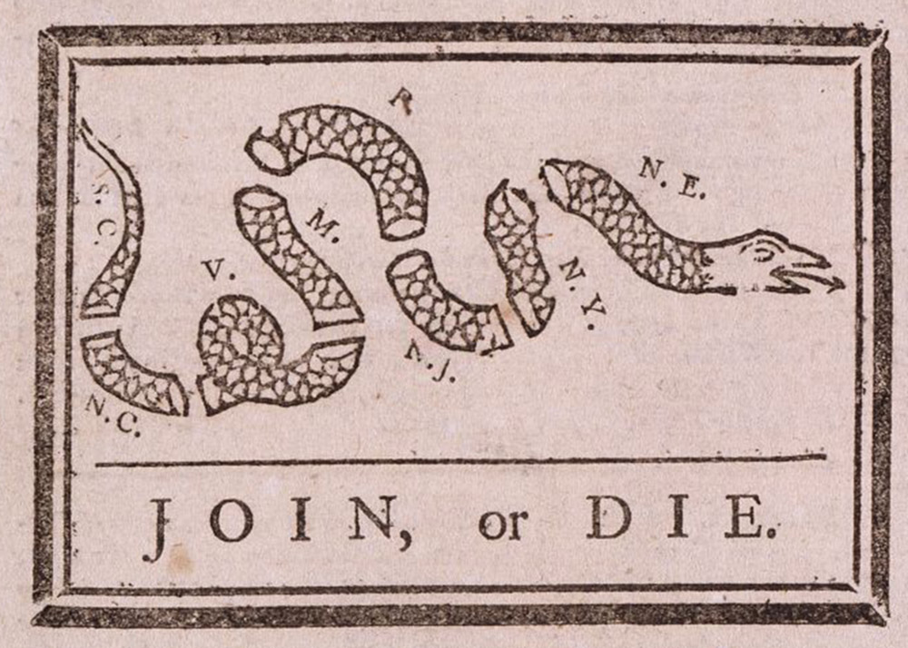 """A snake is cut into pieces that each represent a colony. Beneath the snake are the words """"Join or Die."""""""