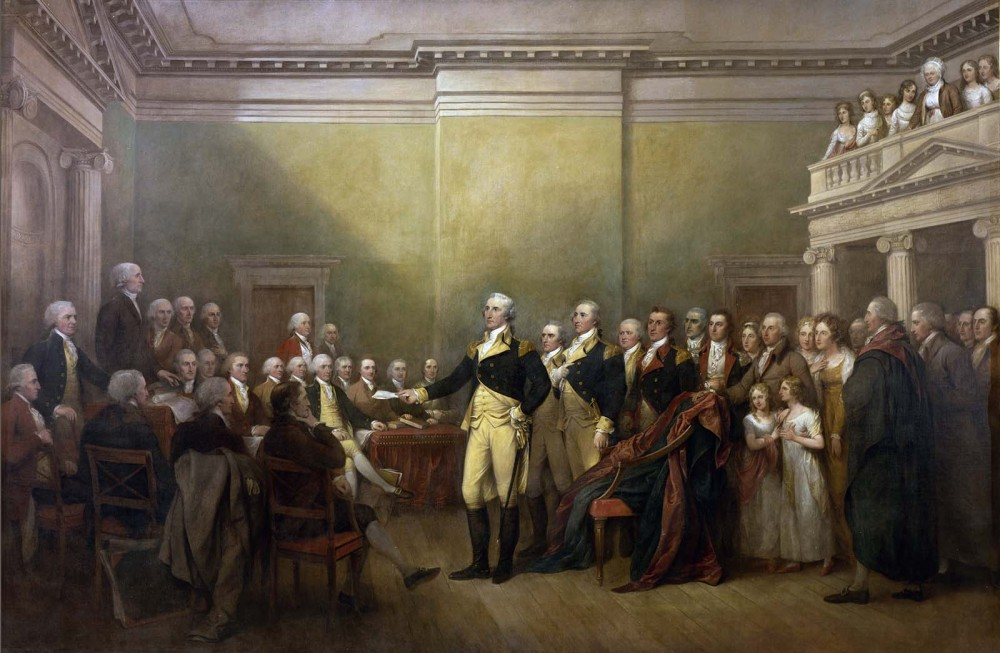 George Washington in front of an assembly.