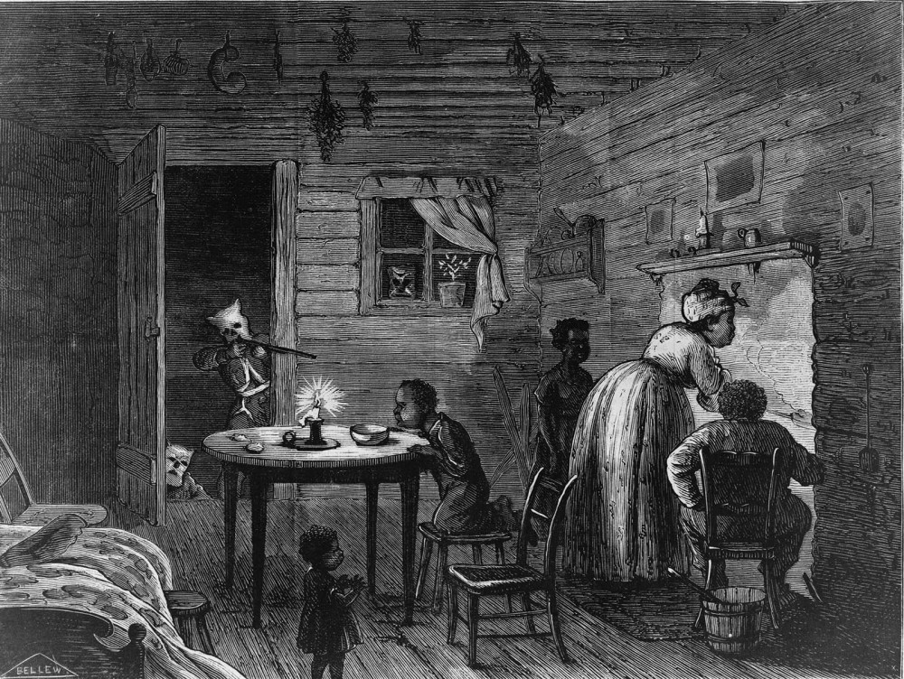A man wearing a white mask points a rifle into the home of an unaware black woman and several black children.