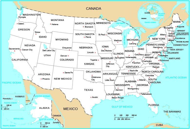 U S Political Map A Map Shows The 48 Contiguous States Of The U S With Alaska And Hawaii Shown