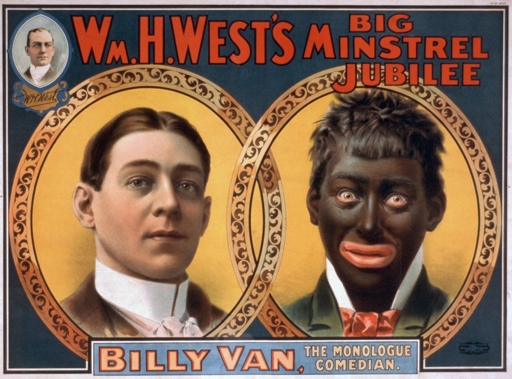 A portrait of a white man on the left, and a portrait of a white man in blackface on the right.