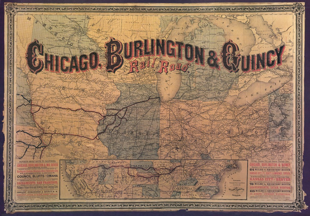 Map of the mid-West that shows how far the railroads go.