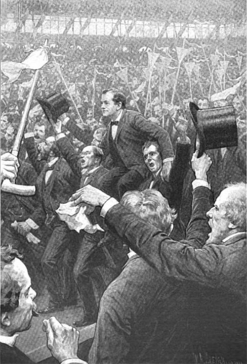 William Jennings Bryan being carried on the shoulders of a cheering crowd.