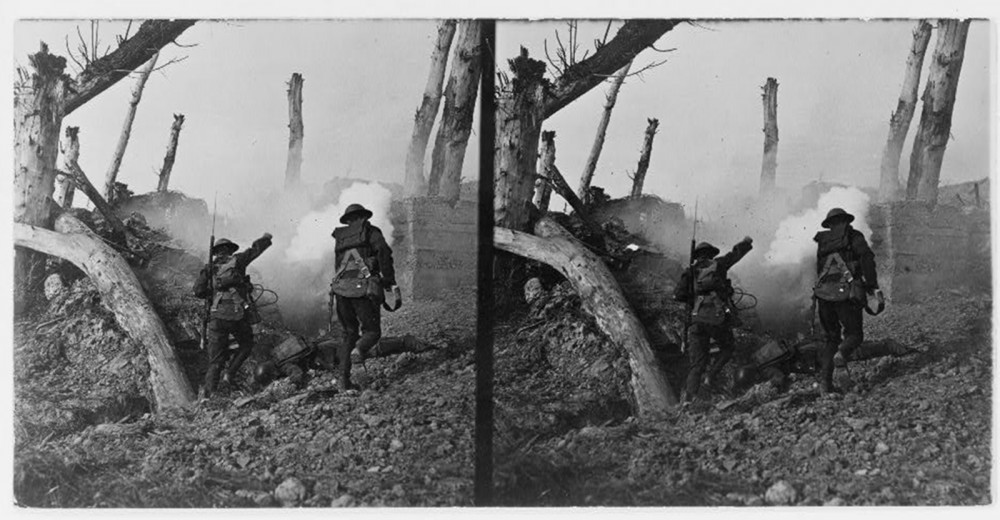 Two soldiers going by the bodies of another two soldiers.