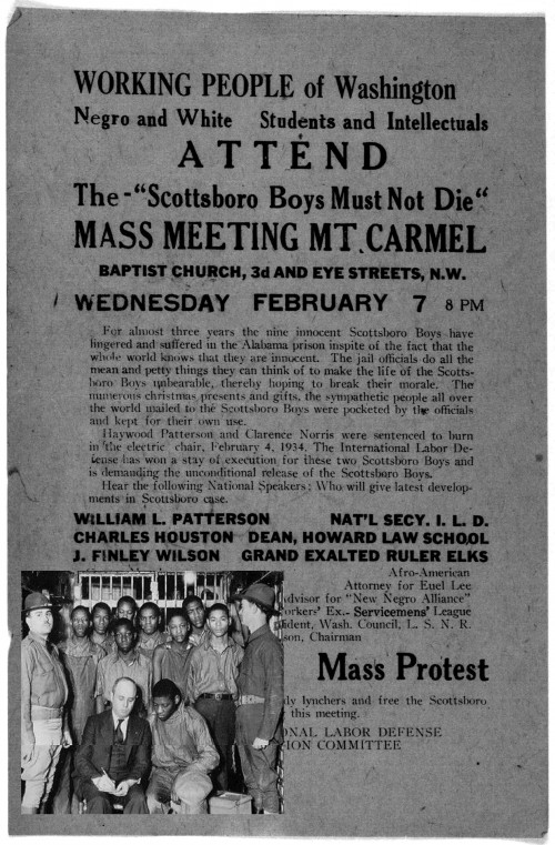 Poster advertising a mass protest. The headline says The Scottsboro Boys Must Not Die.