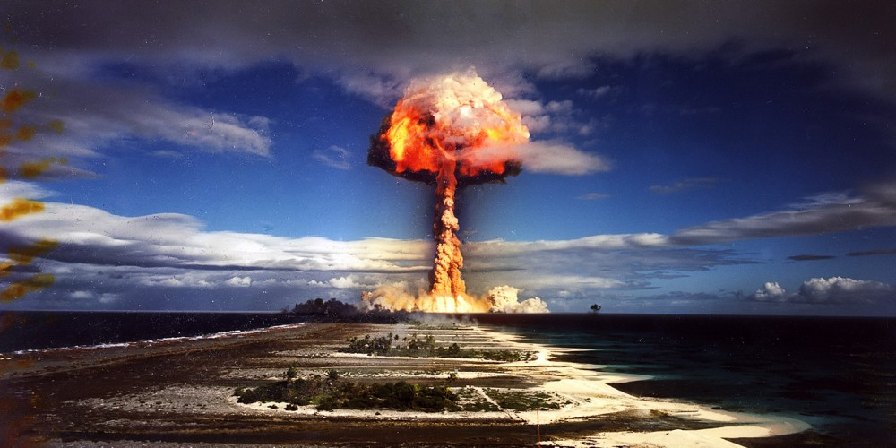 An atomic bomb explosion.