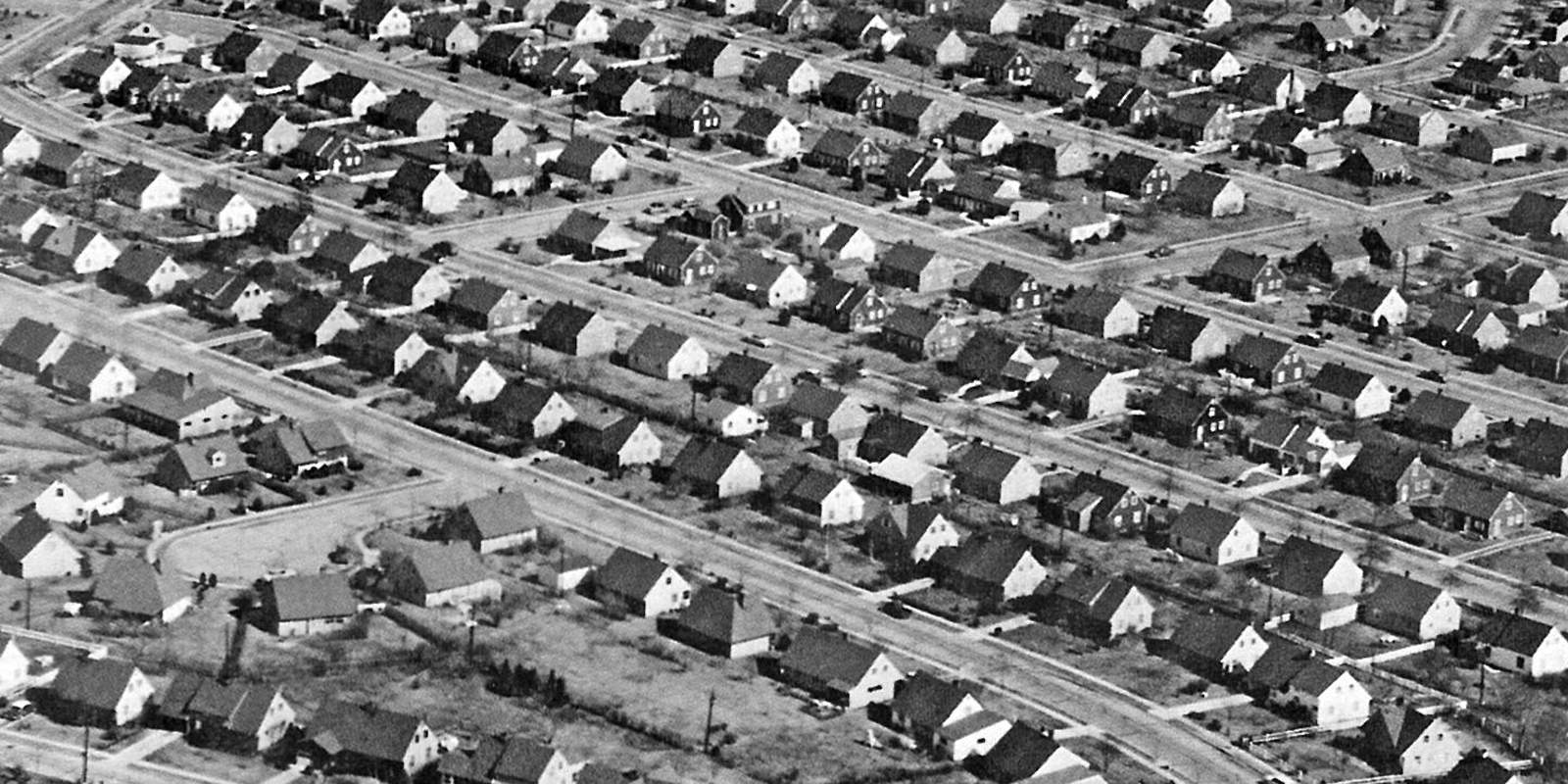 Photograph of lines of identical-looking houses in even rows.