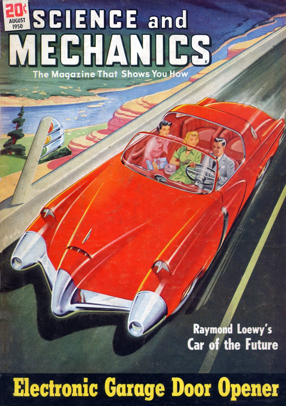 The cover of Science and Mechanics. It features a drawing of a man and two women in a sleek red convertible. The headlines are Electronic Garage Door Opener and Raymond Loewy's Car of the Future.