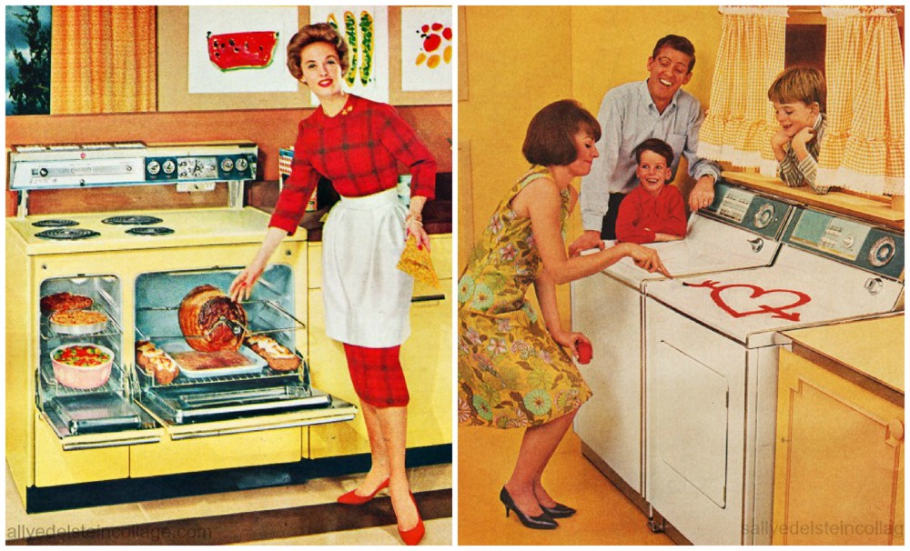 Left image shows a woman with a variety of food dishes in an oven. Right image shows a woman painting a heart on a washing machine as her smiling husband and two sons look on.