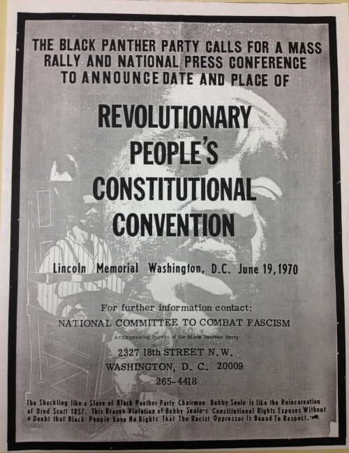 Black Panther rally poster. The bottom paragraph reads, The Shackling like a Slave of Black Panther Party Chairman Bobby Seale is like the Reincarnation of Dred Scott 1857. This Brazen Violation of Bobby Seale's Constituional Rights Exposes Without a Doubt that Black People Have No Rights That the Racist Oppressor is Bound to Respect.
