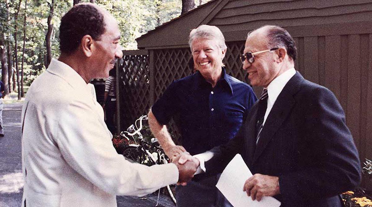 Israeli prime minister Menachem Begin and Egyptian president Anwar Sadat with U.S. president Jimmy Carter at Camp David in 1978.