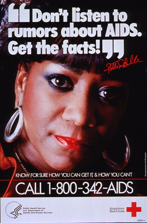 "AIDS poster that offers a number people can call and the message ""Don't listen to rumors about AIDS. Get the facts!"""