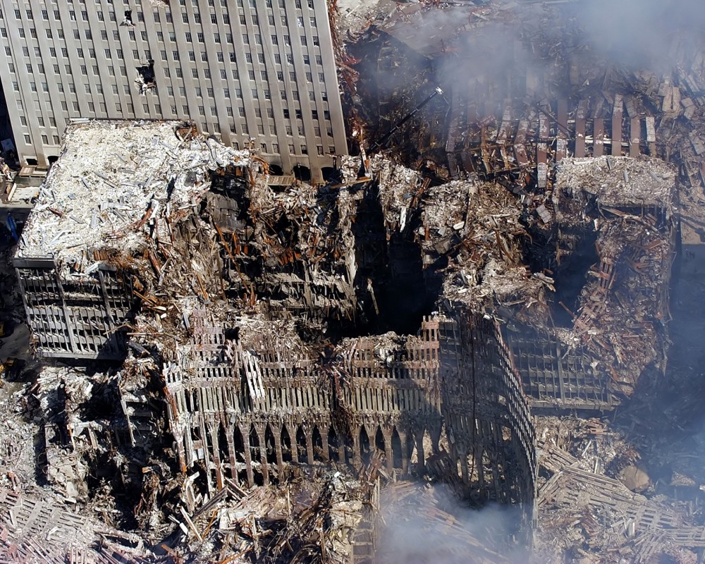 The ruins of the World Trade Center.
