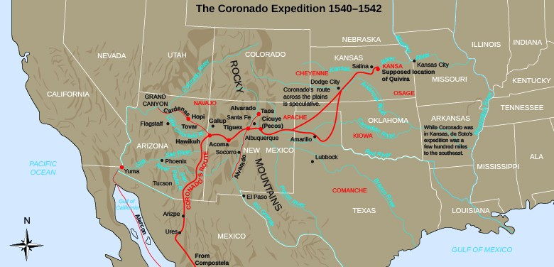 "A map shows Coronado's path through the American Southwest and the Great Plains. Notes indicate the ""supposed location of Quivira"" as well as that ""Coronado's route across the plains is speculative"" and ""While Coronado was in Kansas, de Soto's expedition was a few hundred miles to the southeast."""