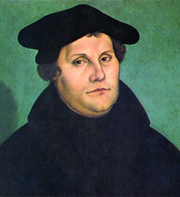 A painting depicts Martin Luther.