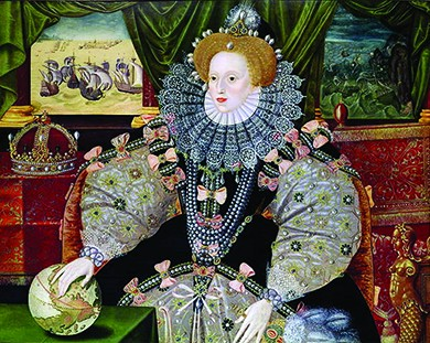 A portrait of Elizabeth I shows the queen in full regalia with her hand on a globe. Behind her, through the windows, scenes showing the defeat of the Spanish Armada are visible.