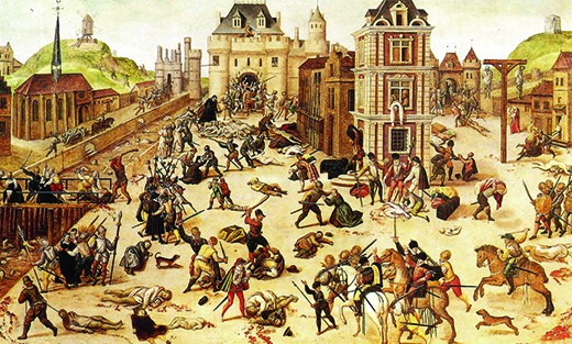 A painting shows French Catholic troops slaughtering French Protestant Calvinists in the streets of Paris.
