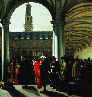 A painting shows a crowd of seventeenth-century merchants and brokers gathered in the courtyard of Amsterdam's Exchange, a large building with columns and archways.